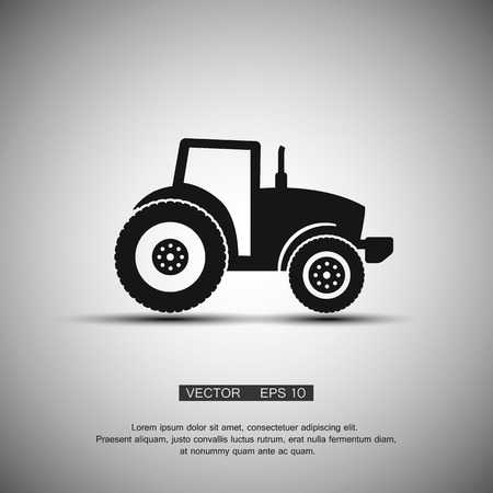 tractor in field: Tractor silhouette icon vector illustration.