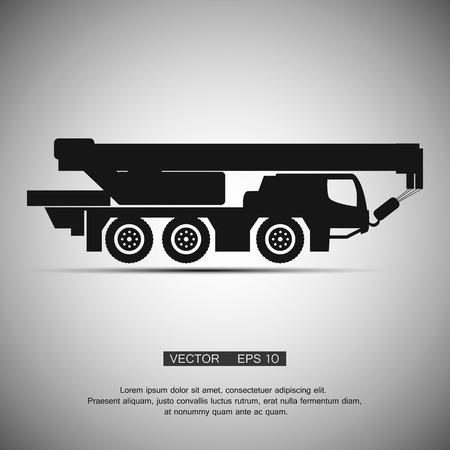 telescopic: Aislado Crane equipos de maquinaria de construcci�n. Vector icono