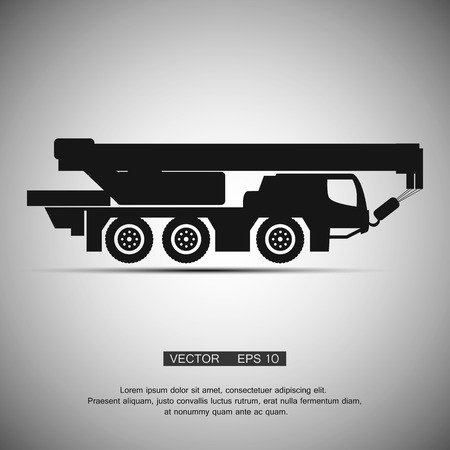 machinery: Crane  construction machinery equipment isolated. Vector icon