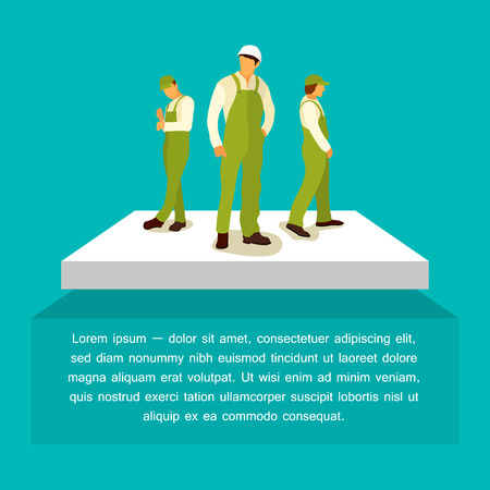builder logo: Supervisor and two builder in green coveralls. The logo of a construction company. Vector Illustration