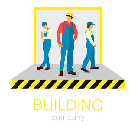 builder logo: Three builder, one foreman. The blue uniform. Vector building company logo