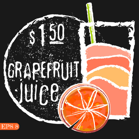 grapefruits: Illustration of fresh grapefruits with juice. Vector collection drinks menu