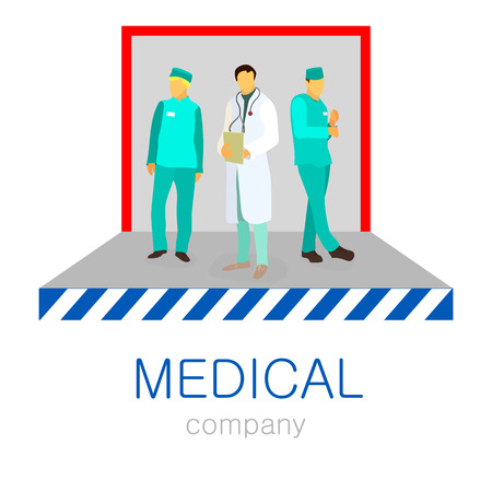aesculapius: vector flat illustration of doctors. medical and healthcare concept