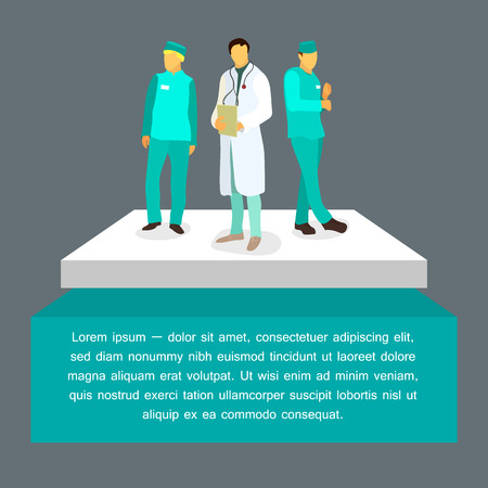 vector flat illustration of doctors. medical and healthcare concept
