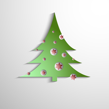 Merry christmas. Paper design. Festive spruce with Christmas balls. Vector illustration for your design. Christmas template. Blank space for your text. Vector greeting card.