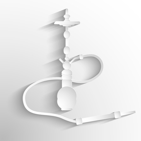 White silhouette of a hookah with shadow on a grey background. Vector
