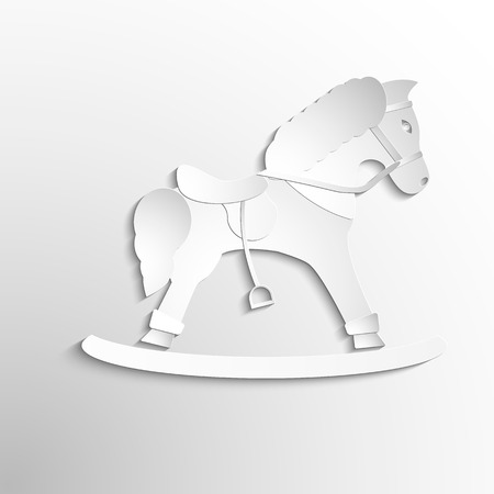 horse toy icon. Paper design. Vector symbol Ilustração