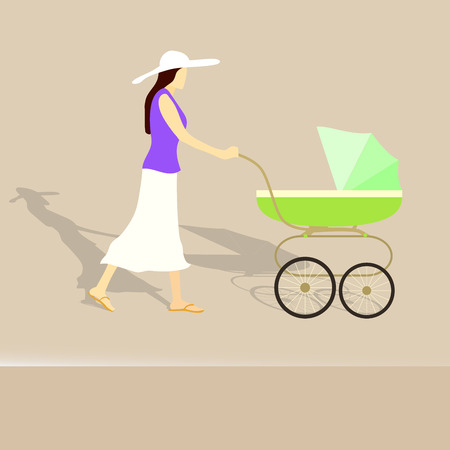 buggy: Young woman with her child in a buggy, vector illustration