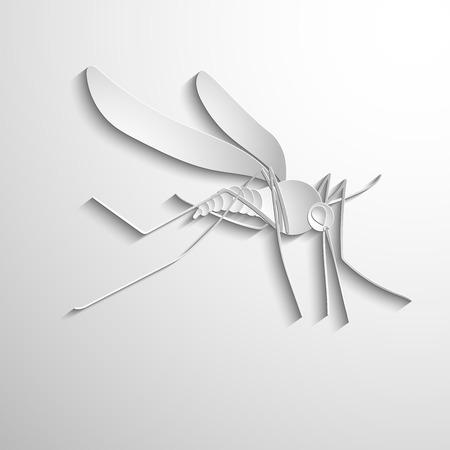 realistic design element: mosquito. White vector symbol