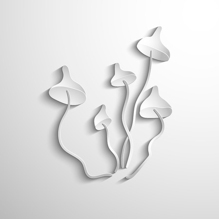 body consciousness: Vector - Magic mushrooms. White symbol
