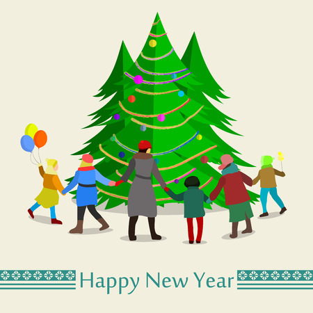 1 2 month: Family leads dance around theFamily leads dance around the Christmas tree. Happy New Year. Vector Illustration