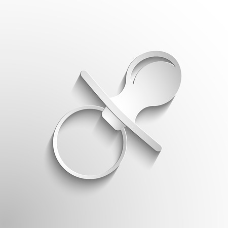 baby pacifier icon. Vector white symbol nipple