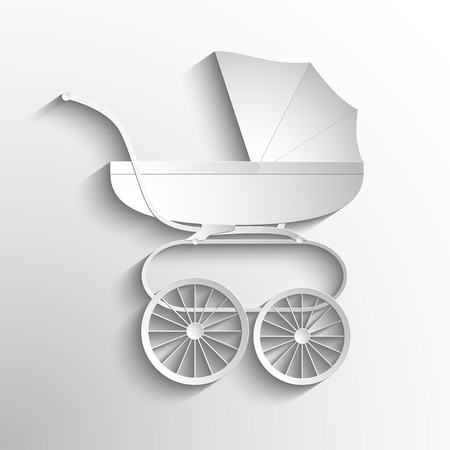 infantile: Baby Carriage Silhouette. Vector white symbol or icon