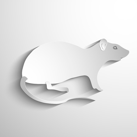 year of rat: Vector silhouette of the Rat. Vector white symbol or icon