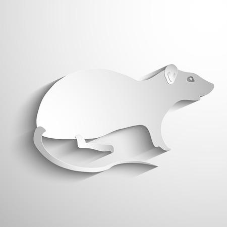 rata caricatura: Vector silueta de la rata. Vector símbolo blanco o icono