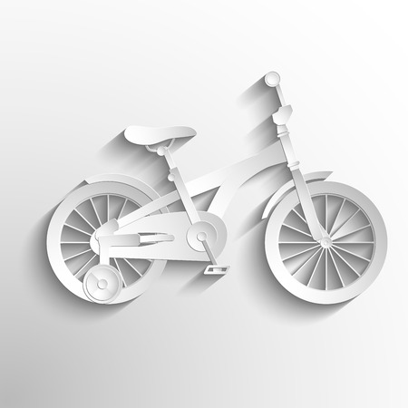 Bicycle Kids. Vector white paper symbol bike