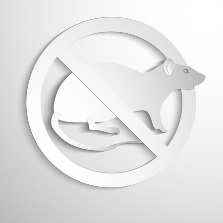 vermin: Vector illustration - No rat sign. White symbol Illustration