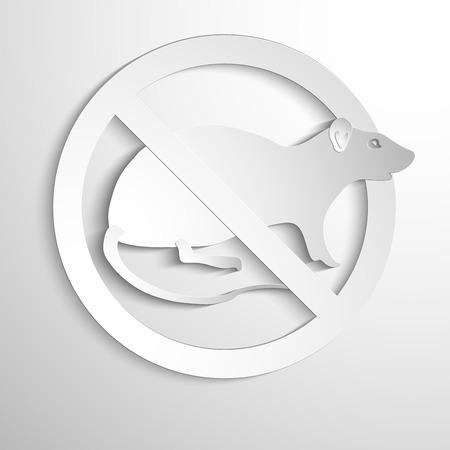Vector illustration - No rat sign. White symbol Ilustração