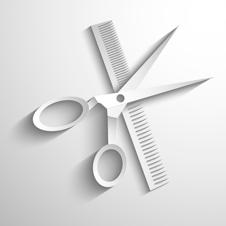 male grooming: hair salon with scissors and comb vector icon - white paper illustration