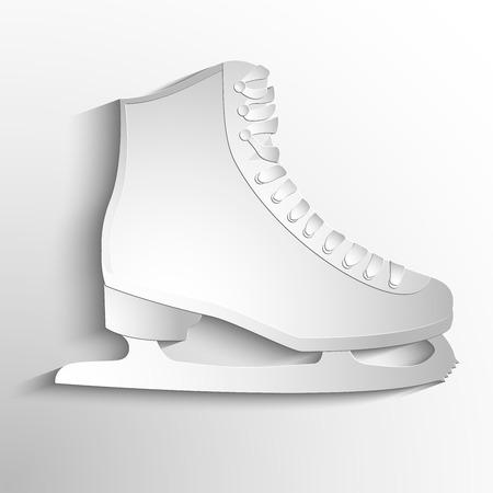 fully editable vector illustration of isolated ice skates. White symbol Ilustração