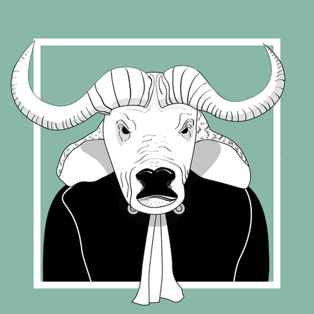 court judge: Sketch bull man judge.  Vector monochrome character. Illustration