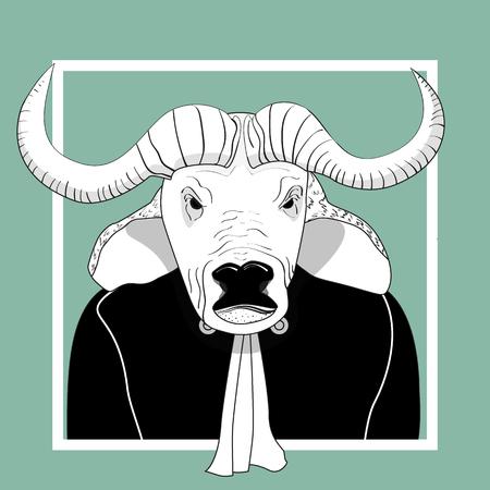 Sketch bull man judge.  Vector monochrome character. Ilustração