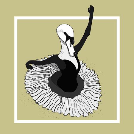 swan ballerina dancing in a skirt. Vector monochrome sketch. Ilustração