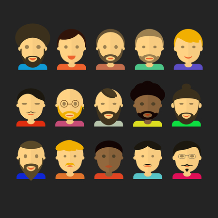 appearance: men appearance icons. people flat icons collection. Vector set face Illustration
