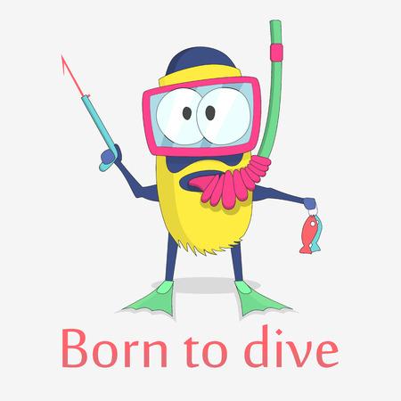 monster diver vector character design. Eps 10 Ilustração