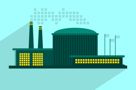 Illustration of industrial power plant in flat style. Vector