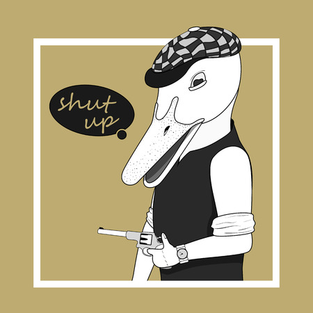 anthropomorphism: fashion illustration of goose bandit dressed up in retro style. Vector eps 10 Illustration