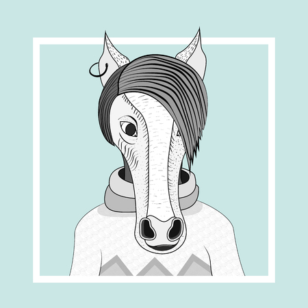 Fashion illustration of horse hipster. Vector Eps 10. Hand drawn