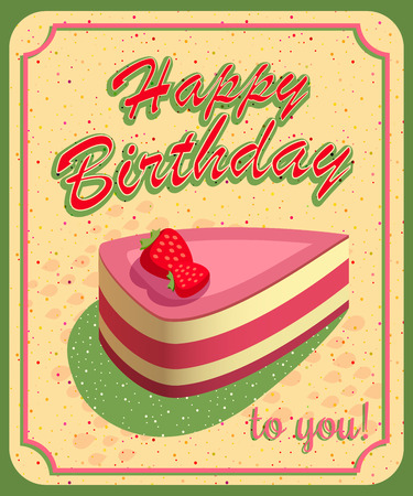 old family: Vector happy birthday card. Birthday cake. Vector Illustration