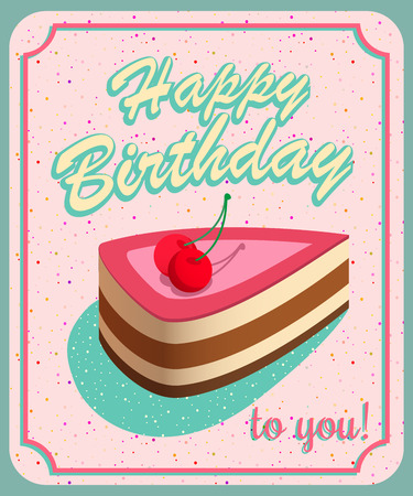 brand new: Vintage Birthday Card - Vector EPS10. Grunge effects can be easily removed for a brand new, clean sign. Illustration