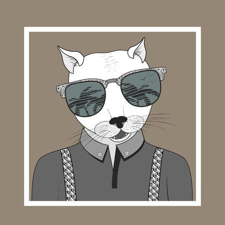 手の色で街を見ると、ドレスアップした猫のファッション イラスト。ベクター eps 10