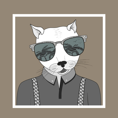 look up: Hand Drawn Fashion Illustration of dressed up cat, City Look, in colors. Vector eps 10 Illustration