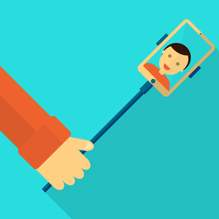 Monopod Selfie man. Self Portrait Tool For Smartphone. Vector Illustration Imagens