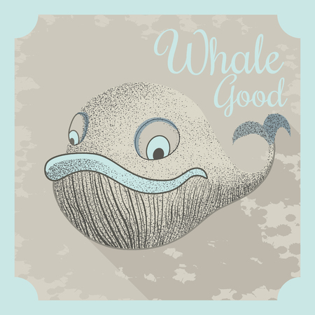 Summer poster design. Cool vector poster with a whale and motivational lettering.