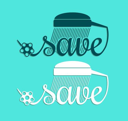 Minimal style save water symbol template. Vector illustration. Ilustração