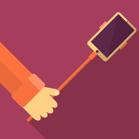 Taking Selfie Photo on Smart Phone concept background. vector illustration Imagens