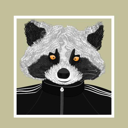 Hand drawn fashion Illustration of Raccoon. Vector