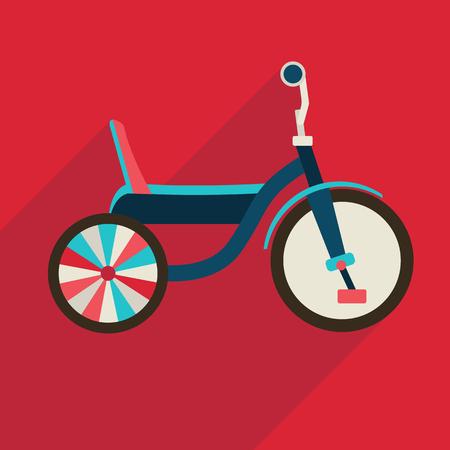 Children bicycle flat icon with long shadow. Vector symbol Ilustração