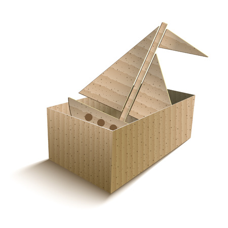 Toy boat in an open cardboard box. vector illustration
