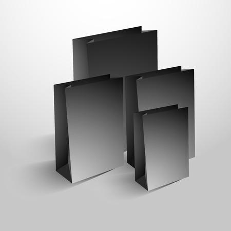 black shopping bags set isolated on white. Vector Ilustração
