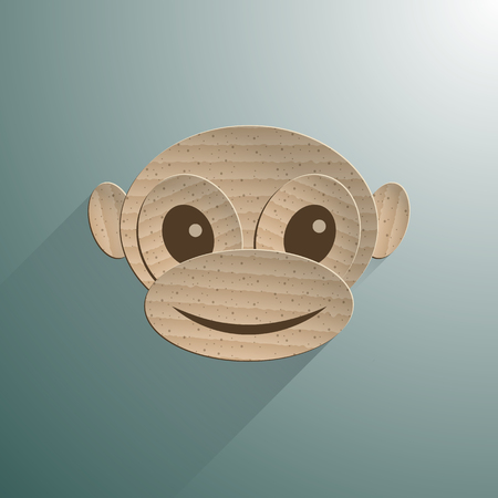 Little baby monkey. Paper design. Vector EPS
