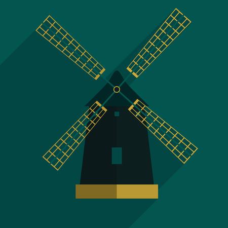 windmill flat icon with long shadow, Vector eps10 Ilustração