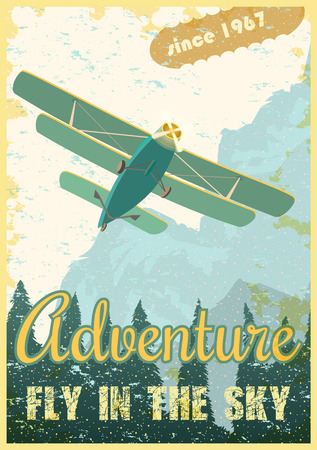 Biplane on the background of the forest and mountains, retro poster. Ventage vector