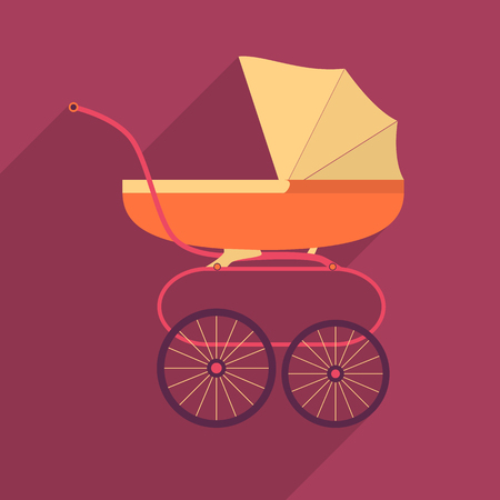Retro baby stroller flat square icon with long shadows. Vector