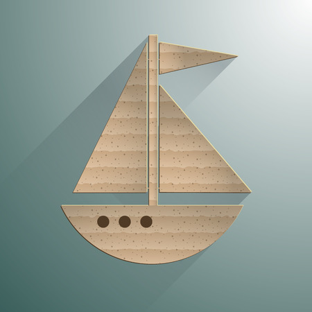 Sailing yacht flat square icon with long shadows. Vector