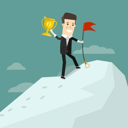 Successful businessman standing on top of a mountain with a cup winner Ilustração